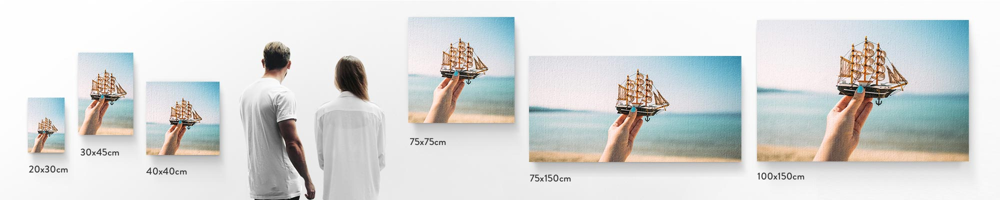 Canvas print sizes - How do we stack up? We offer a range of canvas sizes to suit your needs, space and decor. Our canvas prints are available in sizes ranging from 20x30cm-30x60cm and larger sizes between 50x75cm-100x150cm.